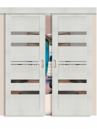 Двойная раздвижная дверь ЭкоШпон 30