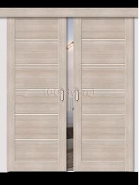 Двойная раздвижная дверь ЭкоШпон 28