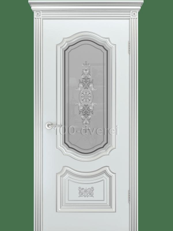 Дверь Соло R-0 ДО Белая  Патина серебро