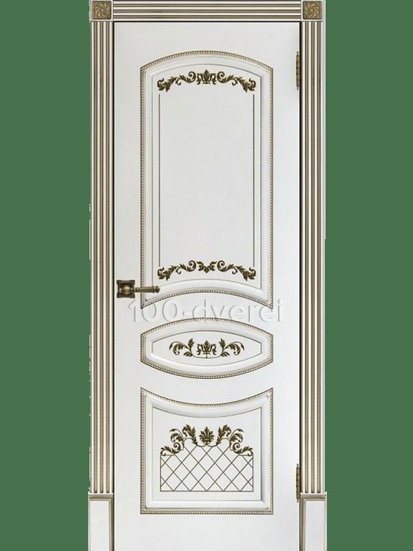 Дверь Алина-2 ДГ Эмаль белая с золотой патиной