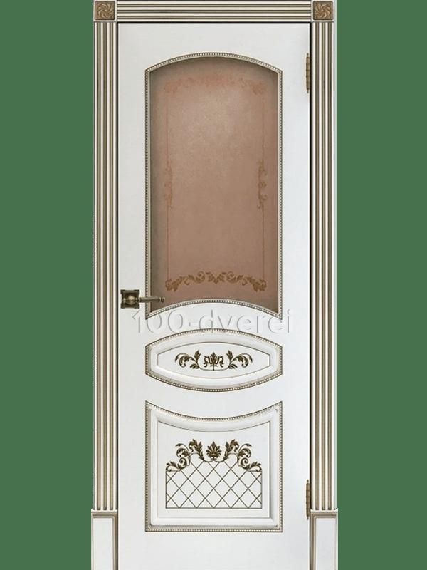 Дверь Алина-2 ДО Эмаль белая с золотой патиной