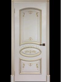 Дверь Багет-3 Слоновая кость с патиной золото