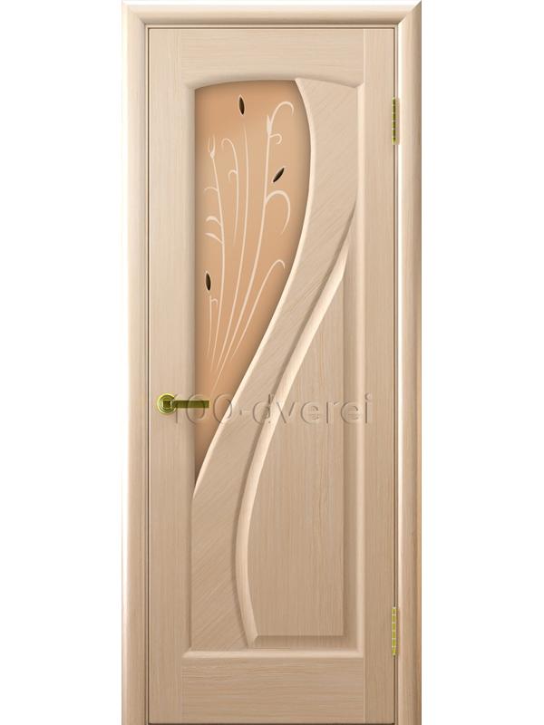 Дверь Мария со стеклом беленый дуб