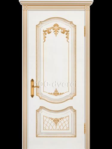 Дверь Соло ДГ Белая Патина золото