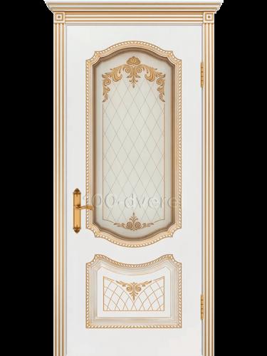 Дверь Соло ДО Белая патина Золото
