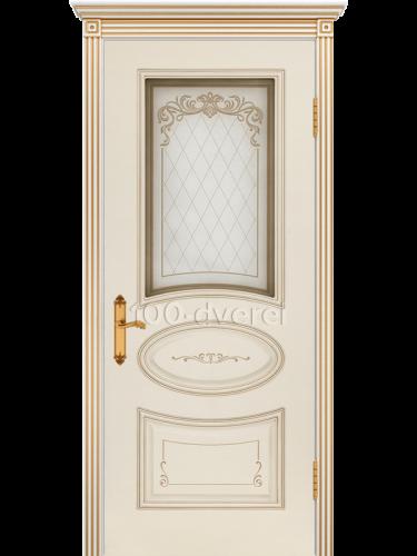 Дверь Ария 4 Грэйс ДО Слон. кость, пат.белое золото