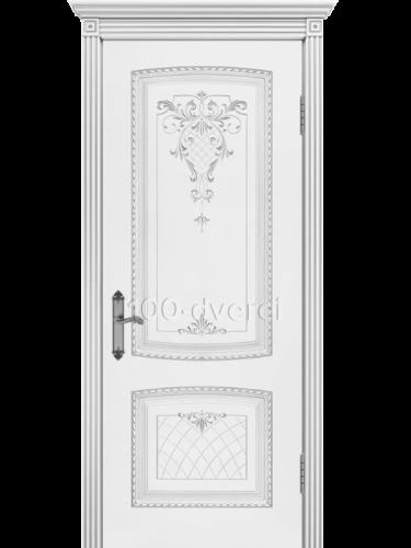 Дверь Симфония 2 ДГ Белая Патина серебро
