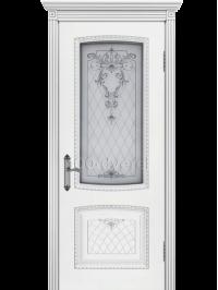 Дверь Симфония 2 ДО Белая Патина серебро