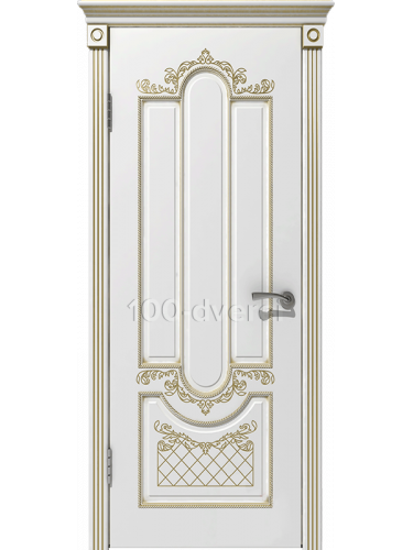 Межкомнатная дверь Александрия ДГ Белая эмаль,пат. Золото