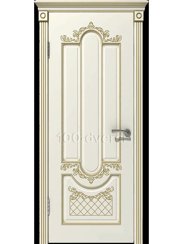 Межкомнатная дверь Александрия ДГ Слоновая кость,пат. Золото