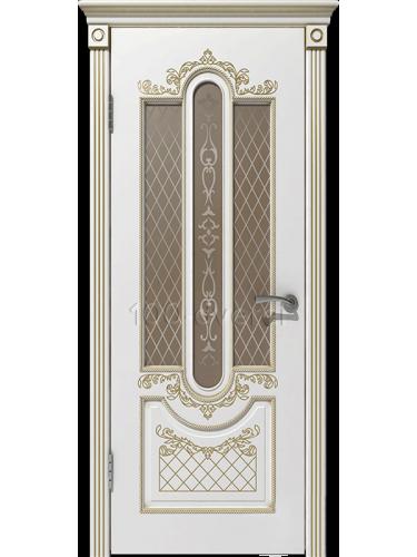 Межкомнатная дверь Александрия ДО Белая эмаль,пат. Золото