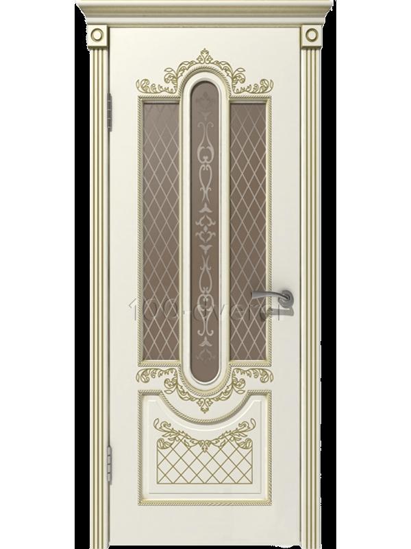 Межкомнатная дверь Александрия ДО Слоновая кость, пат. Капучино