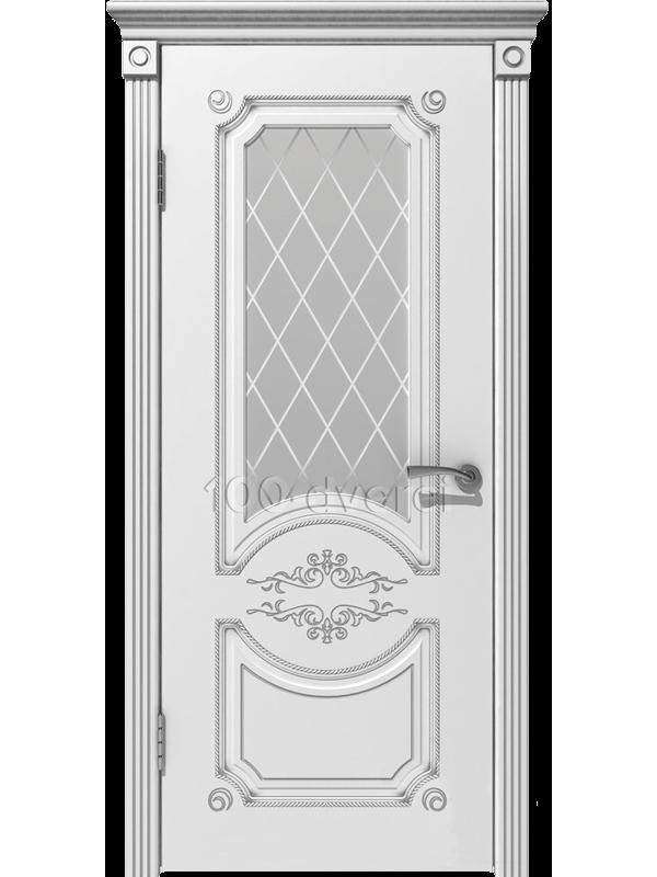 Межкомнатная дверь Милана ДО Белая эмаль,пат. Серебро