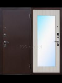 Входная дверь Зеркало Макси-Белый ясень